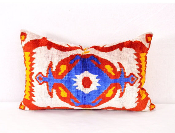 Eclectic Pillow Cases : Antique Velvet Ikat Pillow Cover by Eastern Home Decor - Eclectic - Decorative Pillows - by Etsy