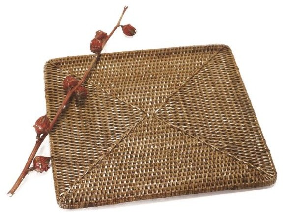 artifacts trading company hand woven rattan square placemat large beach style placemats. Black Bedroom Furniture Sets. Home Design Ideas