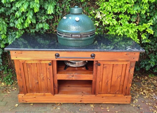 Big Green Egg Table Double Door Golden Oak amp Black Pearl