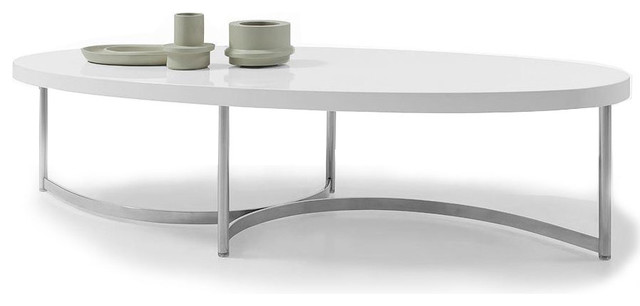 Modern White Lacquer Oval Coffee Table Sumu Modern Coffee Tables Other Metro By Furnillion