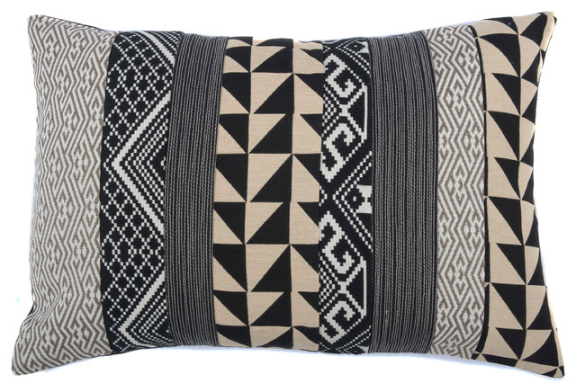 Geometric Medley Pillow, Beige and Black - Decorative Pillows - by Jiti Designs