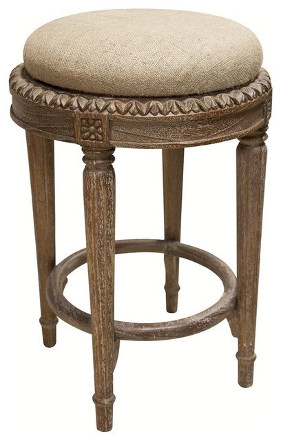 Noir Isabelle Gray Wash Counter Stool Traditional Bar