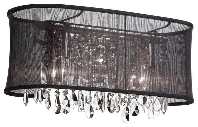 3 Light Crystal Vanity, Black Oval Organza Shade - Modern - Bathroom Vanity Lighting - by Eager ...