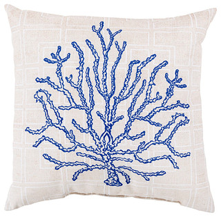 Beach Style Outdoor Cushions : Cobalt and Cream Coral Pillow - 18