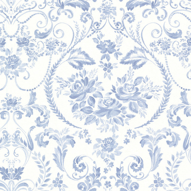 canne blue floral wallpaper victorian wallpaper by