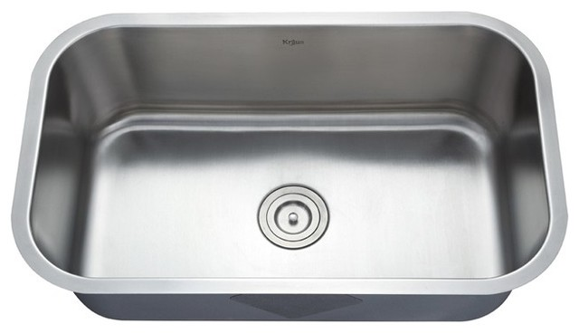 30 Stainless Steel Sink : 30 inch Undermount Single Bowl 16 gauge Stainless Steel Kitchen Sink ...