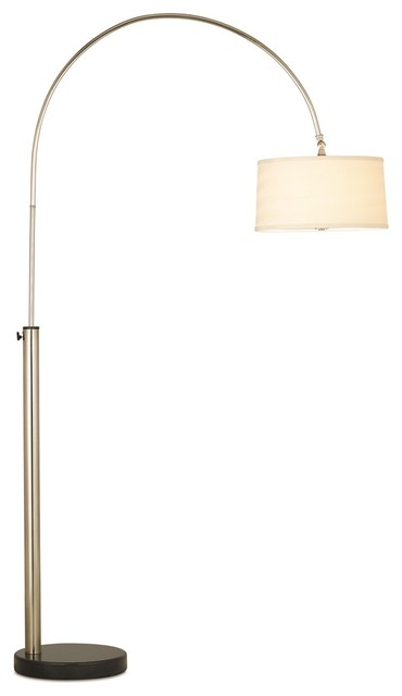 Pacific coast bowden arc floor lamp brushed nickel for Contemporary floor lamps gold coast