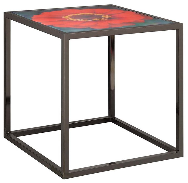 Bloom 4 Metal And Glass Red Floral Top Accent Table Cube Eclectic Coffee And Accent Tables