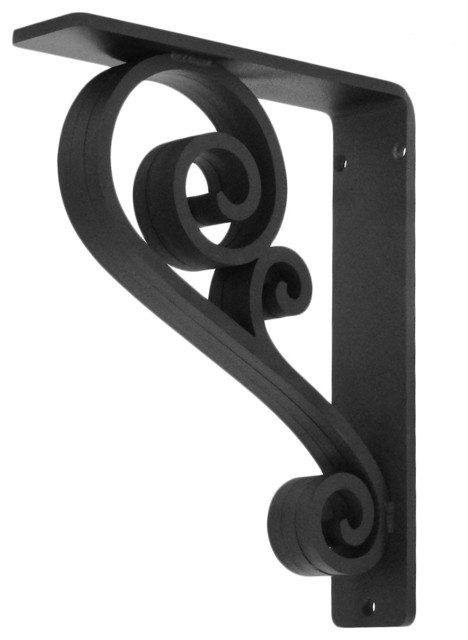 "Classic Scroll Wrought Iron Corbel - 2"" Wide, Clear, 8 X 10 craftsman-brackets"