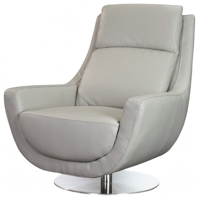 Germany swivel chair in gray leather contemporary for Modern swivel accent chair
