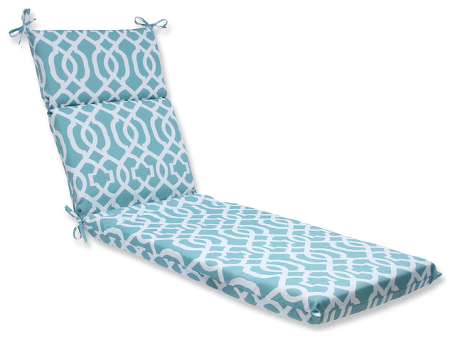 New geo aqua chaise lounge cushion contemporary for Black and white striped chaise lounge cushions