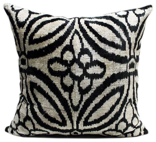 Large Silk Velvet Ikat Accent Pillow