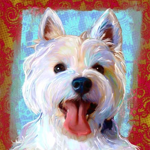 West Highland Terrier Westie Dog Art Print Contemporary