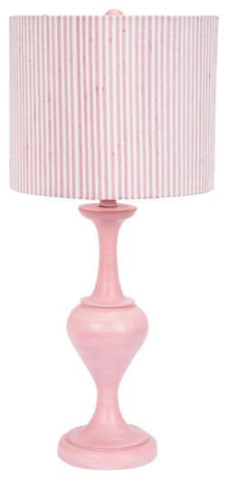 pink curvature lamp with stripe shade landhausstil. Black Bedroom Furniture Sets. Home Design Ideas