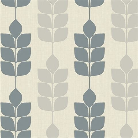 Blue And Grey Modern Petals Wallpaper Midcentury