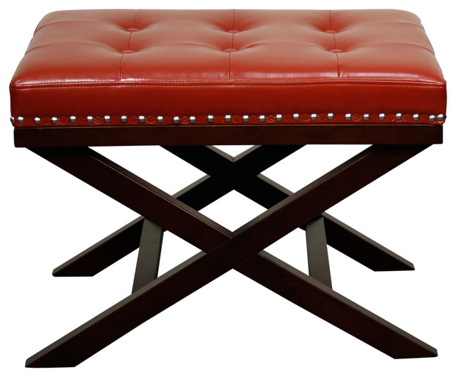 Franklin Bonded Leather Bench Red Transitional Upholstered Benches