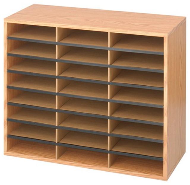 Safco WoodCorrugated Literature Organizer 24 Compartment