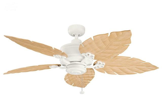 Leafy Breeze Indoor/Outdoor Ceiling Fan, Light Oak tropical-ceiling ...