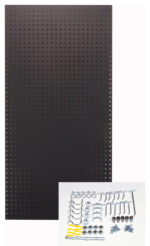 """Tempered Board Kit, 24""""x48"""" With 36 Piece Hook Assortment, Black"""