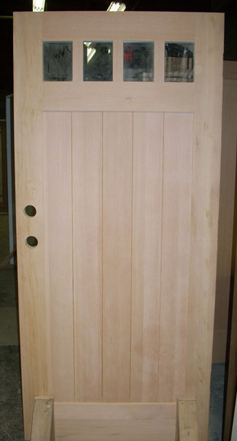 Solid Vg Fir Craftsman 4 Lite 1 Panel V Groove Shaker Bottom Traditional Front Doors