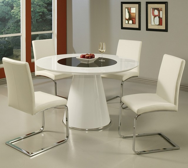 Pastel Taranto 5 Piece Black Glass Dining Room Set W Monaco Chairs Contemp