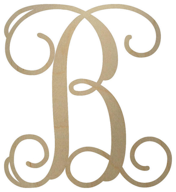 Unfinished Wooden Monogram Letter 18 Quot Contemporary