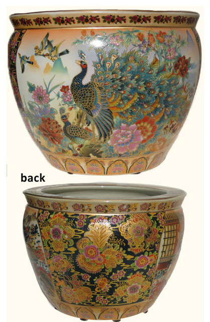 Satsuma porcelain fish bowl planter with peacock asian for Chinese fish bowl planter