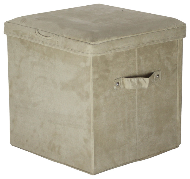 microsuede folding storage ottoman beige transitional footstools and