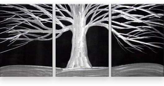 "Matthew's Art Gallery - ""White Tree on Black"" Metal Wall Art, 3-"
