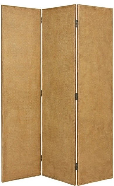 Crushed Bamboo 3 Panel Floor Screen Modern Screens And