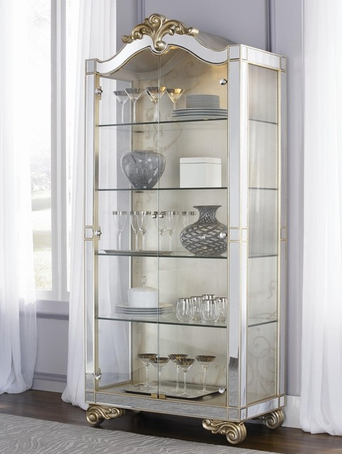 Jessica mcclintock couture two door silver leaf curio cabinet contemporary accent chests and - Elegant contemporary curio cabinets furniture ...