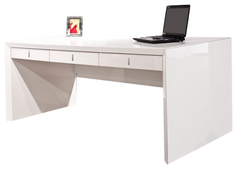 ultra modern white lacquer desk with three drawers contemporary desks