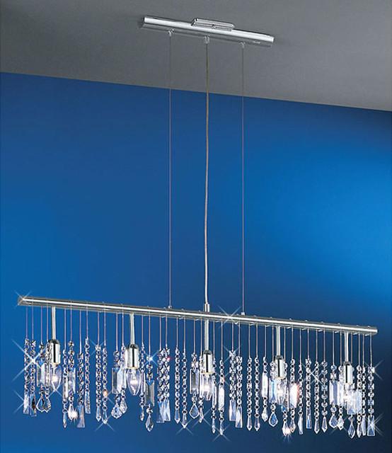 Crystal Chandelier Trash Club: Linear 5-Light Bar Pendant Crystal Chandelier
