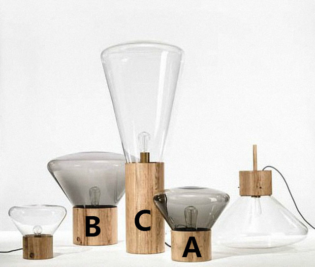 New Home Designs Latest Modern Home Kitchen Cabinet: Modern Original Wood And Clear Glass Shade Table Lamp And