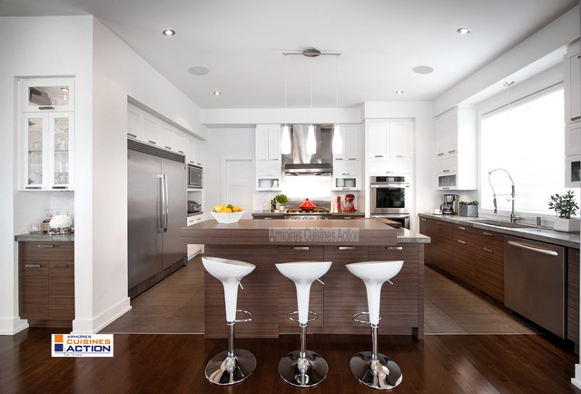 White or wood cabinets montreal by armoires cuisines for Armoires de cuisine action