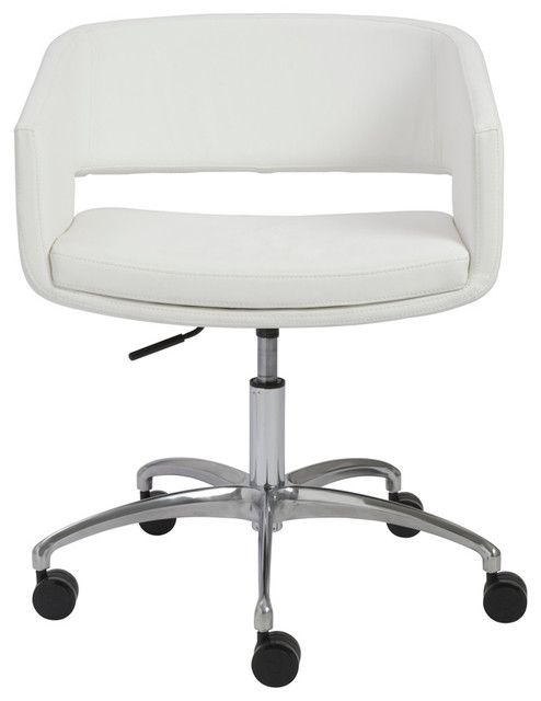 eurostyle amelia office chair white and chrome modern. Black Bedroom Furniture Sets. Home Design Ideas
