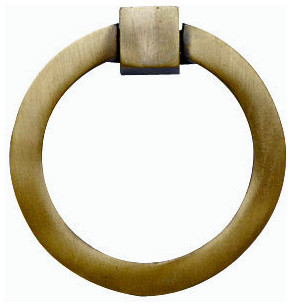 Mission Style Solid Brass Ring Pull, Antique Brass Finish - Contemporary - Cabinet And Drawer ...