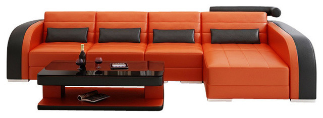 Finland small leather sectional add matching coffee table for Matching living room furniture sets