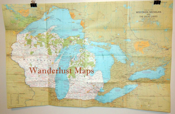 1973 Map of Wisconsin, Michigan and the Great Lakes by ...