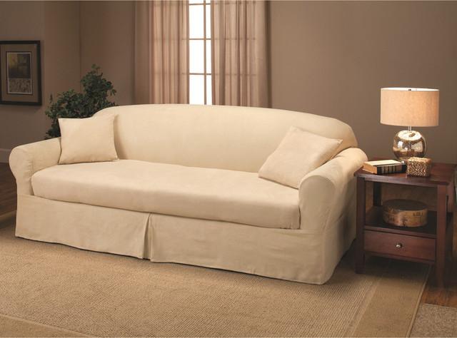 suede 2 piece sofa slipcover contemporary sofas by