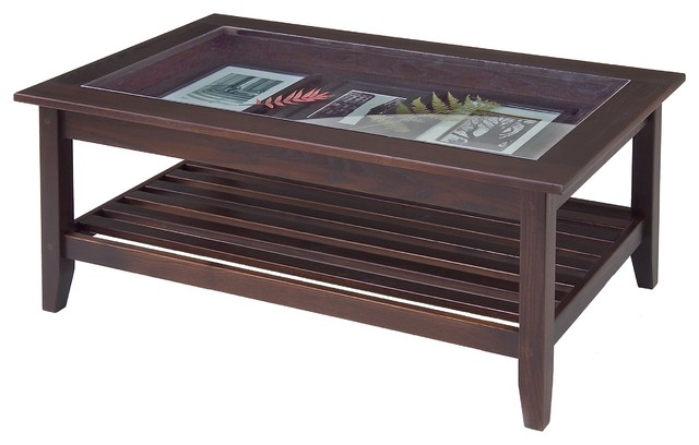 Glass Top Display Coffee Table By Manchester Wood Traditional Coffee Tables Other Metro