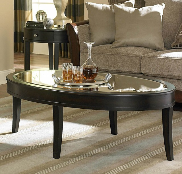 Homelegance Brooksby Oval Mirrored Cocktail Table In Cherry Contemporary Coffee Tables By
