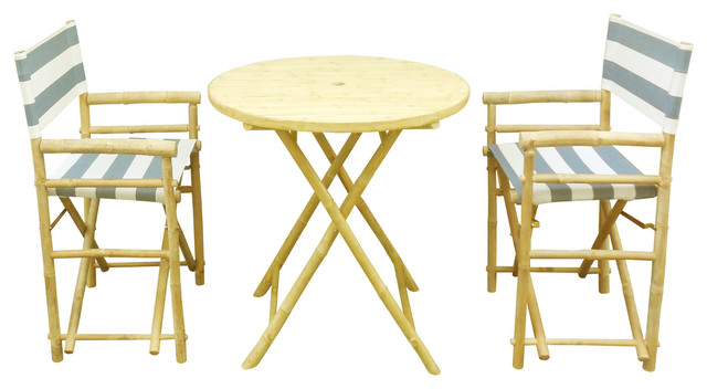 Round Table Set With 2 Director Canvas Chairs Navy And