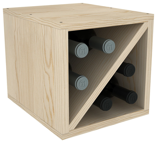 "Bottle Stackable Wine Cube Exclusive 12"" Deep Design, Unfinished Pine ..."