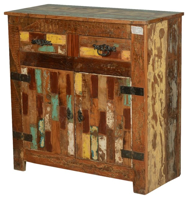 Rustic Painted Patches Reclaimed Wood Buffet Cabinet