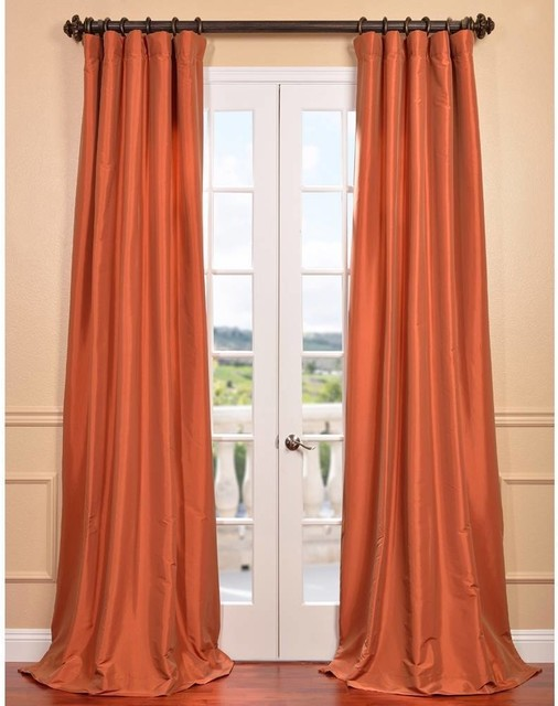 Harvest Orange Faux Silk Taffeta Curtain Panel Contemporary Curtains By