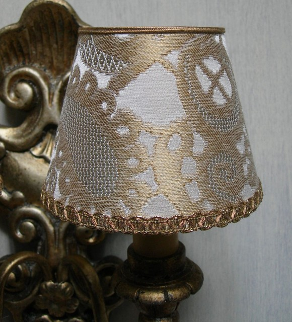 Silk Lamp Shades For Wall Lights : Wall Sconce Chandelier Clip On Lamp Shade White Gold Silk Lampas Rubelli Fabric - Lighting ...