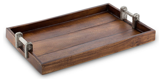 Wood Tray With Faux Bois Handles Rustic Serving Trays