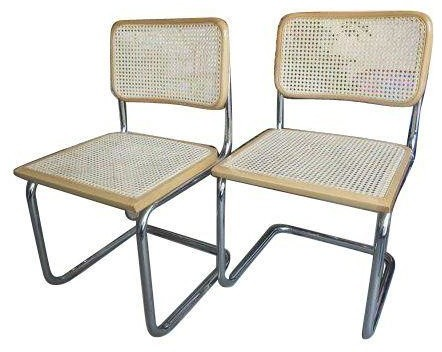 Pre Owned Cesca Style Cane Side Chairs A Pair Beach
