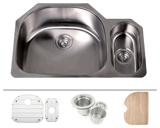 Undermount double d bowl offset kitchen sink 16 gauge modern kitchen